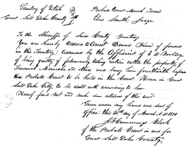 Salt Lake County Probate Court, Civil and Criminal Case Files, March 31, 1853.