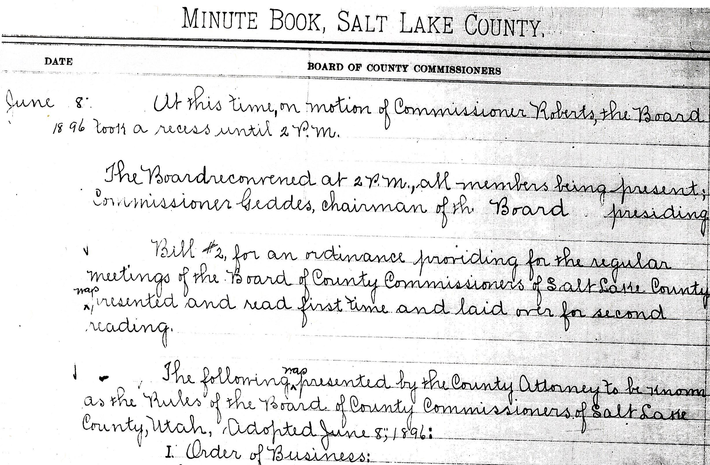 Salt Lake County Commission Minute Book June 8 1896