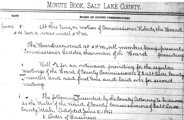 Salt Lake County Commission Minute Book, June 8, 1896.