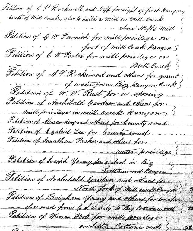 Salt Lake County Commission Minutes, Index to Book A, 1852-1857.