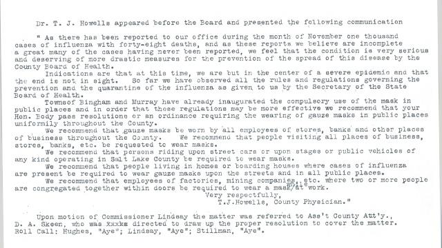 Salt Lake County Commission Minutes, December 4, 1918.
