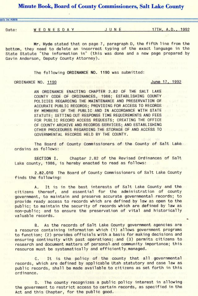 Excerpt from Salt Lake County Commission Minutes, June 17, 1992.