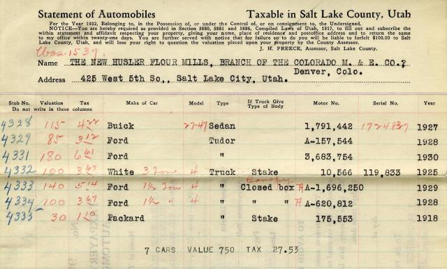 Listing of automobiles owned by the New Husler Flour Mills, 1932.