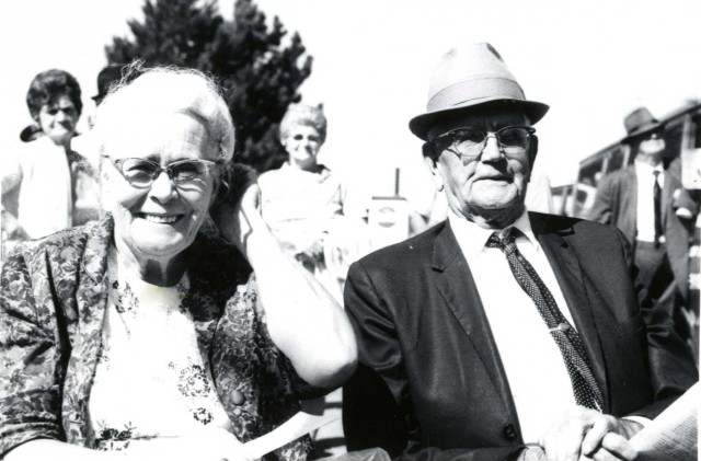 Jennie and Lloyd Hobbs of Provo. Received award for married longest at Fair (58 years).