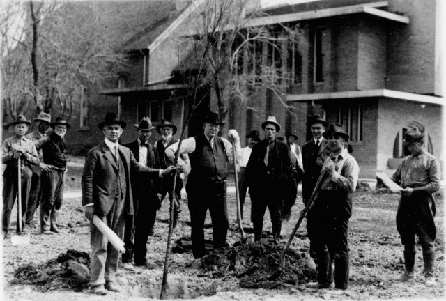 Civic improvement demonstration at church in Holladay, 1922.  40 ornamental trees  and over 100 shrubs were planted.