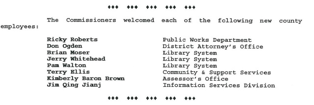 New hire Terry Ellis, Salt Lake County Commission Minutes, May 6, 1996.