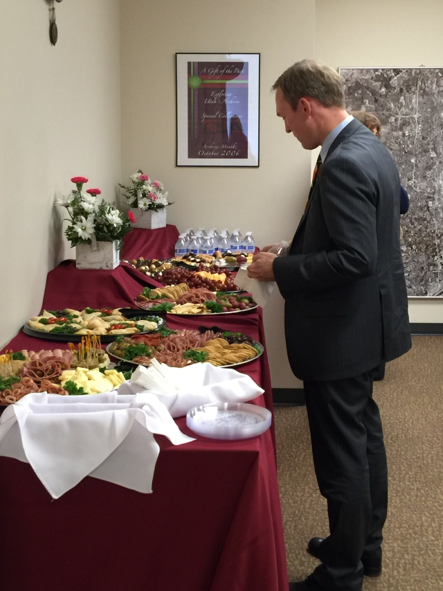 Mayor McAdams choosing from our large spread.