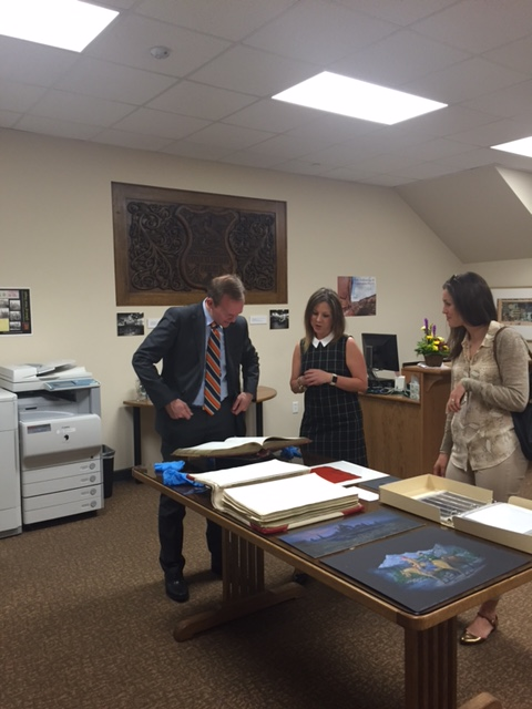 Mayor McAdams, Records Manager Maren Slaugh, and Asst Director of Administrative Services Megan Hillyard in the reading room.