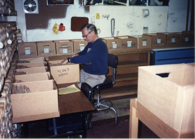 Paul Palmer, second Records Manager, at work in the 800 South records center. Photo 1993.