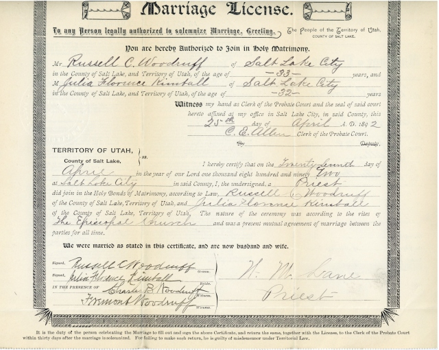 Marriage License, Salt Lake County Archives.