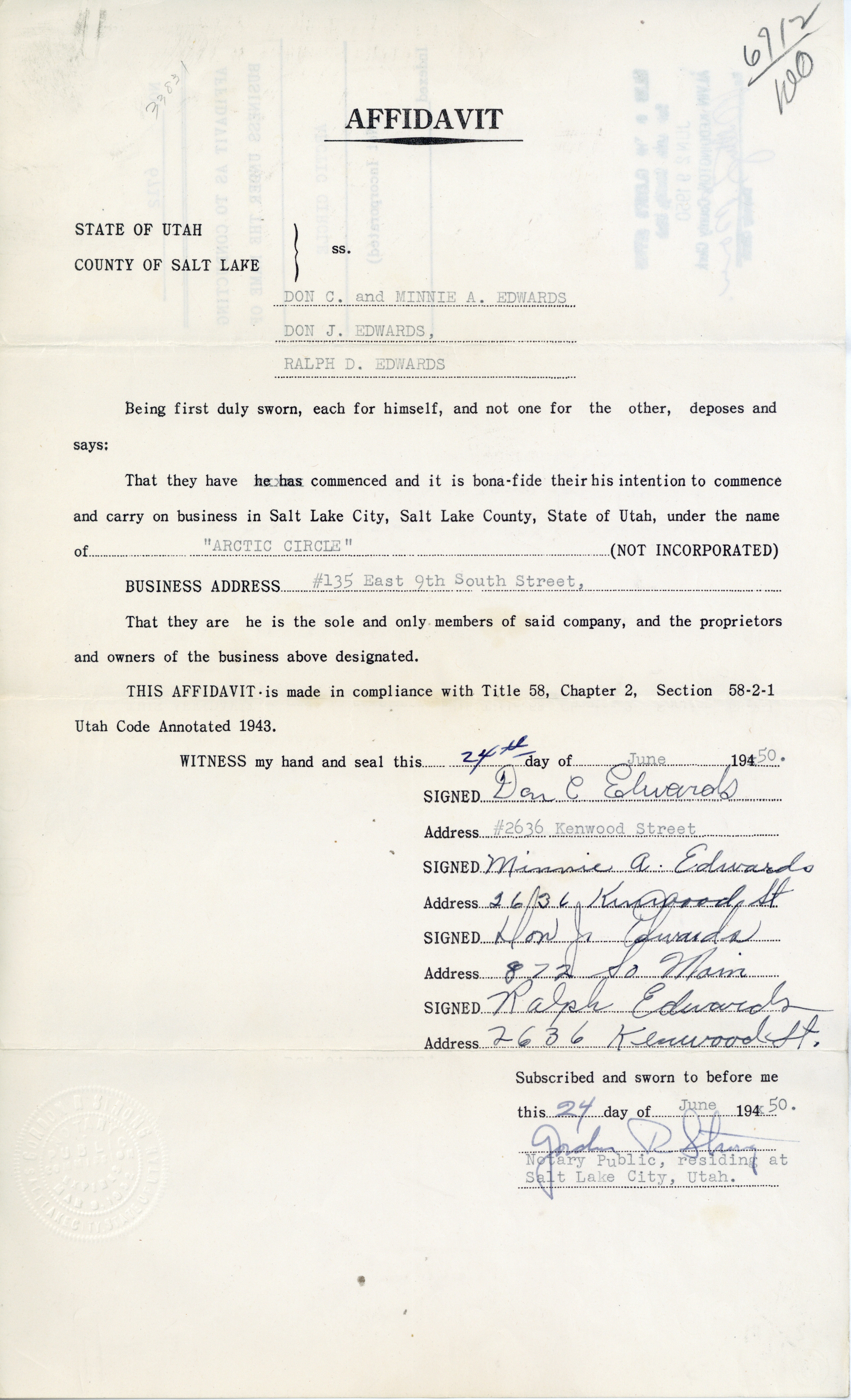 Salt lake county archives business affidavit for arctic circle 1950 salt lake county clerk business affidavits 1919 1962 series cl 034 original records at salt lake county reheart Image collections